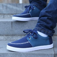 NEW 2014 color matching Canvas shoes rubber sole Men casual Loafers flat base Men's sneakers shipping!