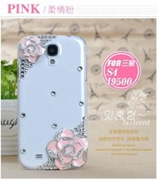 New Hot Luxury Metal Camellias Flowers Crystal Bling Case Cover For Samsung Galaxy S4 IV i9500 Free Shipping