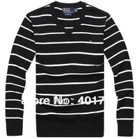 2014 Men polo's long-sleeved Custom-Fit V-NECK  Striped Sweaters Jumper - Size S/M/L/ XL /XXL
