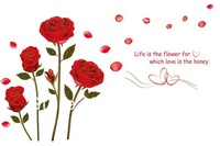 "Gold Side Rose Wall Sticker Flower Stickers ""life is the flower"" Quote Wallpaper Vinyls Removable Decal Poster Hot Sale"
