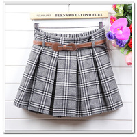 2013 new autumn and winter women and girls' high waist preppy skirts pleated mini plaid skirt with belt for women fashion