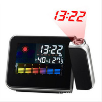 Freeshipping Cheap Digital LCD Screen LED Projector Alarm Clock Mini Desktop Multi-function Weather Station Dropshipping