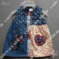 5pcs/lot (9M-5T) Wholesale Baby Girls Dress Denim Dress Pathwork Kids Clothing Embroidery Dress Free Shipping