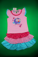 Giggle and Hoot Kids Clothes Fashion Owl Carton Clothing  Girls  Short sleeve Dress