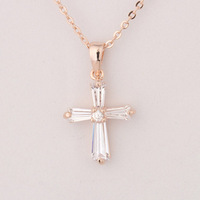 Free Shipping 2013 New Wholesale fashion jewelry Classic Style Champagne Color Alloy Chains Cross Rhinestone Pendant Necklace