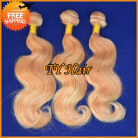 Cheap Virgin Brazilian Hair Body Wave Mixed 3pcs Lot Ombre Hair Extensions Multi Color #27/613 Blonde Ombre Human Hair Weave