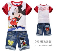 6sets/lot kids boys summer Cartoon clothes sets children Short sleeve T-shirt+jeans Cartoon Mickey Mouse clothing Sets