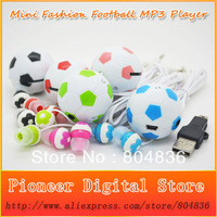 Hot Sell 10 pcs/lot The Newest World Cup 2014 Football Shaped Card Reader MP3 Music Player With Football Earphone&Mini USB