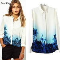 2014 Autumn and Winter New Fashion women's fashion ol women's long-sleeve chiffon shirt all-match print top Size: S - L