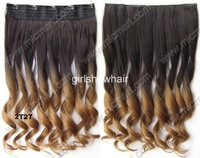 clip on in wavy ombre synthetic hairpiece hair extension 60cm 130g Color 2T27 1pc