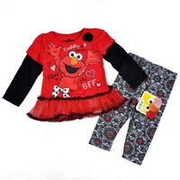 New style baby girls sport long sleeve clothing suits children clothing sets fashion kids wear Sesame street clothing sets