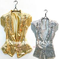 Ds lead dancer clothing paillette tassel vest jazz dance blazer costume top