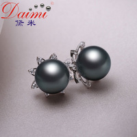 DAIMI JEWELRY Black Tahitian Pearls Studs Earring, Top Quality,10-11mm, 18K White Gold Diamond Free shipping, Brand Jewelry ,