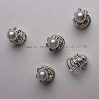 (12 Pcs) Silver Faux Pearl Diamante Spiral Hair Swirl Twists Pins Quantity of 6 Wedding