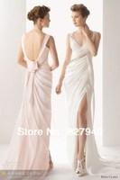 2014 New Arrive/Hot Sale Sexy V-neck White/Ivory Chiffon Garden/Outdoor Wedding Dress,Custom All Size!!!