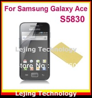S5830 clear Screen Protector For Samsung Galaxy Ace S5830 with Retail Package 10flims+10cloths Free Shipping