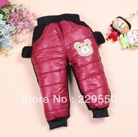 Winter new warm boys down pants kid warm fashion cotton down pants children solid cartton Bear full length trousers 1287