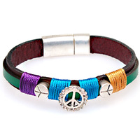 Authentic leather charm bangle,magnetic bangle with crystal peace charm,fashionable leather bracelet and bangles