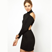 Haoduoyi back black elastic slim long-sleeve autumn and winter one-piece dress