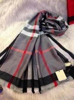 2013 Men and Women Autumn Winters Colorful Delicate Pure Cotton long silk scarf  Plaid  fringe scarf DNS-099