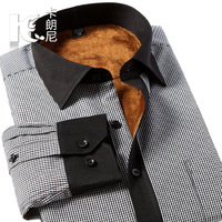 Male thermal shirt male plaid thermal shirt plus velvet thickening shirt