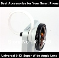 Free shipping Universal 0.4x Super Wide Detachable Lens for Iphone 5 4s Samsung HTC android Mobile phone