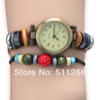 Newcomers leather and rhinestone beads antique watches, women watch, free shipping