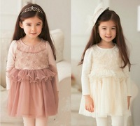 Free shipping 5pc/lot 2013 Winter Fashion Long Sleeve Pearls Rose Flower Girl Tulles Dress Kids Warm Princess Dress Pink White