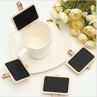 4piece/lot Creative cute mini clip blackboard / message chalkboard with wooden clip