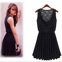 New fashion 2013 lace print hollow out sleeveless pleated casual dress plus size S/M/L saia elegant elastic roupas femininas