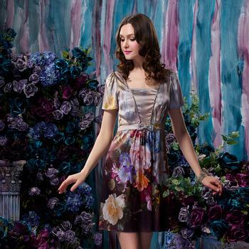 nueva moda de seda impresión de seda 20014 uno- pieza cuello v manga corta vestido casual de vestir para mujeres calidad envío gratis