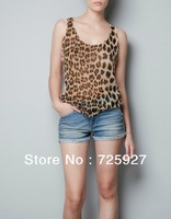 Hot Sale women fashion leopard print blouse patchwork lace shirt lady tank tops sleeveless vest