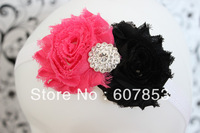 Baby/Kid's hair band,hot pink &black double shabby hair flower/rhinestone center hair flower on White Foe Elastic headband 1pcs