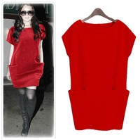 2013 New Hot Fashion women cozy clothing Cute Casual Elegant Noble Sexy dress Wild Classic Loose Pockets Plus size