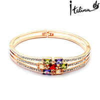 Real Italina Rigant Genuine Austria Crystal  18K gold Plated Bangle  Enviromental Anti Allergies   #RG31462