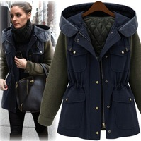 Free Shipping 2014 New Fashion Winter Hooded Jacket Zipper Stitching Elastic Waist Casual Women Short Jacket Coat