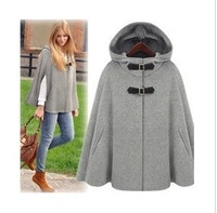 Free Shipping Fashion Hot Sale Hooded Half Sleeve Europe and America Super Elegant Cashmere Woman Cape Style Coat Jacket
