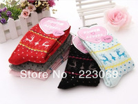 121217 Free Shipping 2013 New Winter The Rabbit Wool Socks Lovely Deer Thickened Cotton Stocks For Women 10pairs /lot