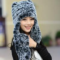 Ears child hat rex rabbit hair fur hat women's scarf cap winter cap winter hat
