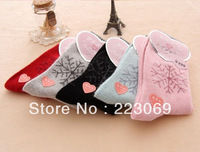 121214 Free Shipping 2013 New Autumn And Winter The Rabbit Wool Socks Lovely Snow Print Thickened Cotton Stocks For Women