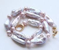 Hot sell- Stunning! Natural 27mm purple Reborn Keshi pearls necklace