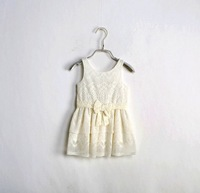 DS3320Girls lace summer white vest  ruffle dress