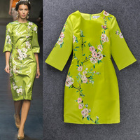 2014 star Fashion flower print one-piece dress vintage elegant slim waist slim short dress formal party banquet dress wear