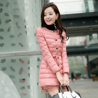2013 slim down coat down coat medium-long lace down outerwear white duck down
