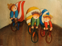 "High Quality Oil Painting on Stretched Canvas 12""x16""- Happy Bike Ride"