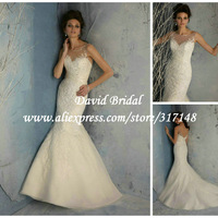 New Style Open Back Mermaid Bridal Gown Appliqued Lace Organza Custom Made EF1785