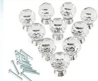 10x Crystal Glass Clear Cupboard Door / Drawer Knobs *Mabel* 30mm Sliver Kitchen Drawer