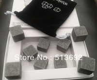 9pcs/lot white gift box loaded whisky rocks,whiskey stones,beer stone, bar accessaries Whiskey ice frozen dark gray stone