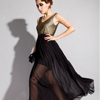 Noble gold lace sexy evening dress chiffon dress perspective full one-piece dress 2013 formal dress  free shipping