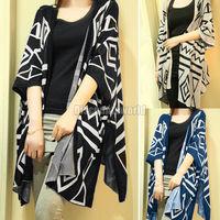New Autumn Womens Boho Geometric Pattern Three Quarter Batwing Sleeve Knit Cardigan Cape Sweater 3 Color  Free Shipping